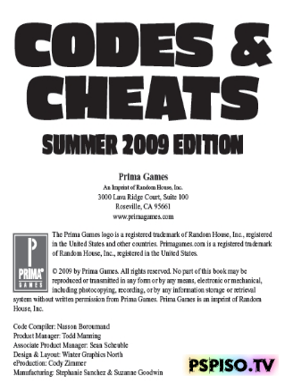 ������ Codes & Cheats 2009 (PSP, PS2, PS3, Xbox, Xbox 360, Wii)