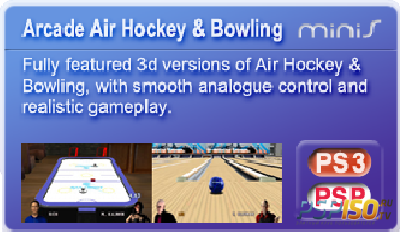 Arcade Airhockey & Bowling Update 1.1vr (PSP/ENG)
